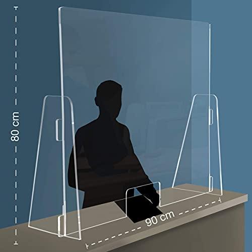 Q&B Grafiche PPF Parafiato parasputi da banco in plexiglass con apertura, 90x80 centimetri