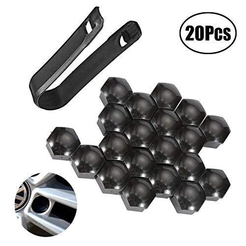LEBQ 20 Pezzi Tappo a Vite Ruota Universale Copridadi per Pneumatici con Strumento di Rimozione Set per Automobili, Nero (19 mm)