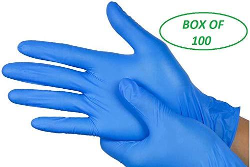 Real Accesories - Guantes de vinilo desechables (100 unidades, tamaño mediano, sin polvo), color azul