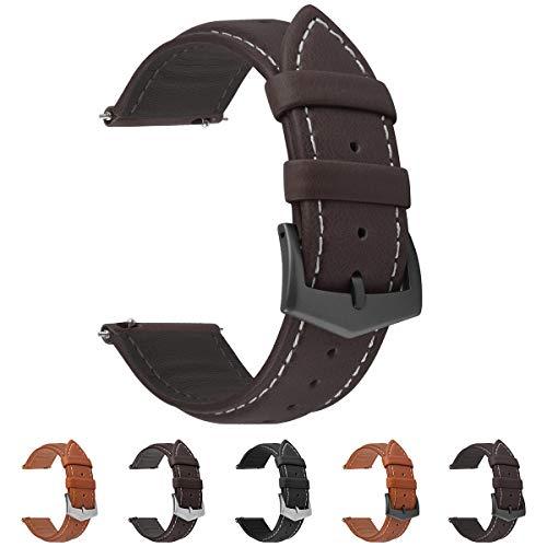 Fullmosa 3 Farben Uhrenarmband, Labu Semi Padded Greased Lederarmband, Ersatzarmband für Damen Herren, Kaffee+Rauchgraue Schnalle 22mm