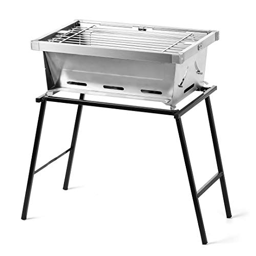 ZUOFENG Foldable Barbecue Charcoal Grill, Portable Charcoal Barbecues Desk Tabletop Outdoor Indoor Stainless Steel Smoker BBQ for Picnic Garden Terrace Camping. (35CM)