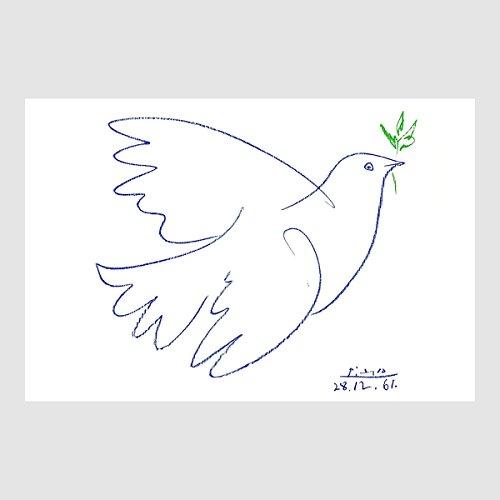 Homedeco-24 Kunstdruck Poster Bild Pablo Picasso - die Friedenstaube mit Ölzweig Colombe Bleue 80 x 60 cm ohne Rahmen