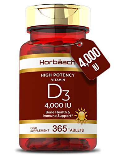 Vitamin D 4000iu | 365 Vegetarian Tablets | D3 High Strength Immune Support | & for Healthy Bones, Teeth & Muscles | Non-GMO, Gluten-Free Supplement