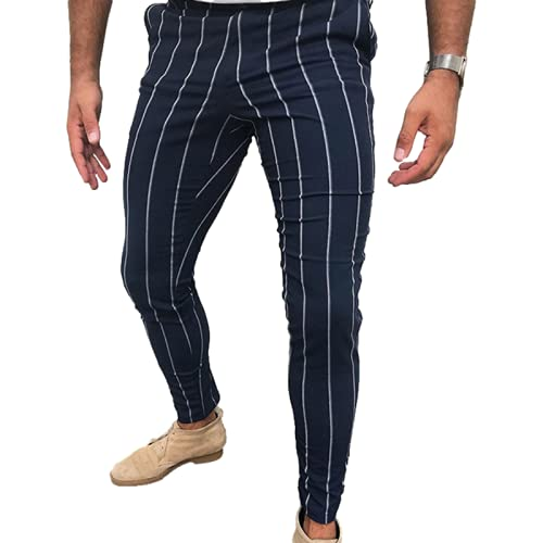 Huntrly Men's Casual Pants Fashionable Personality Striped Print Tight Casual Pants XL Navy Blue