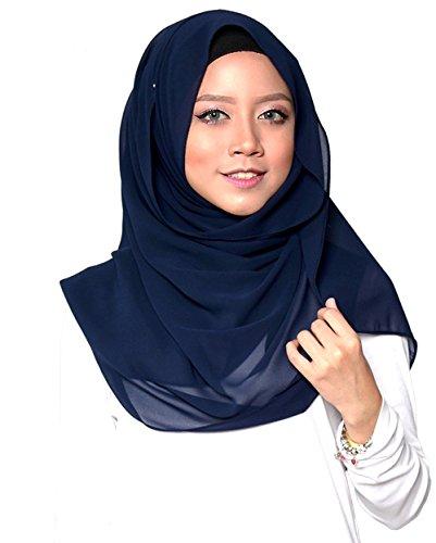 SAFIYA SAFIYA - Hijab Kopftuch für muslimische Frauen I Islamische Kopfbedeckung 75 x 180 cm I Damen Gesichtsschleier, Schal, Pashmina, Turban I Musselin / Chiffon - Marineblau