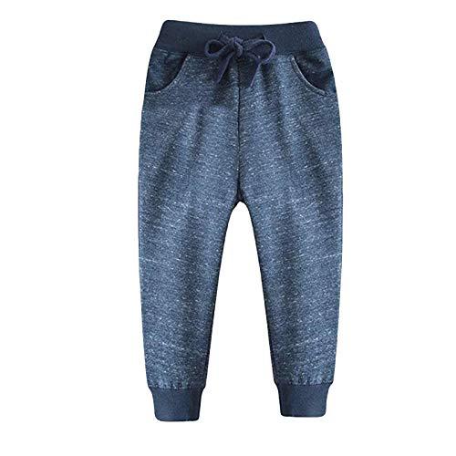 PlayMate Boys Outfits&Set Toddler Baby Boy's Jogger Pants Dinosaur Car Animal Print Drawstring Elastic Sweatpants 2T-7T Dark Blue