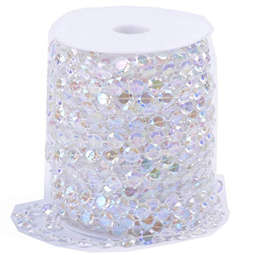 Mabingo 10mm 30m Iridescent Octagonal Acrylic Beads Strand Wedding Party 99FT Diamond Plastic Crystal Clear Beads String Line Chain Garland Decorations Rhinestone Hanging Curtain (AB Colors, 99FT)