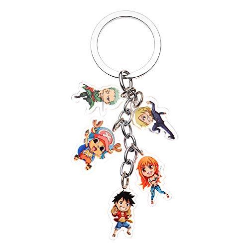 Saicowordist Anime One Piece Nette Acryl 5 Puppe Anhnger Schlsselbund Sammeln Transparent Doppelseitige Schlsselanhnger Neuheit Tasche Zubehr Anime Fans Geschenk