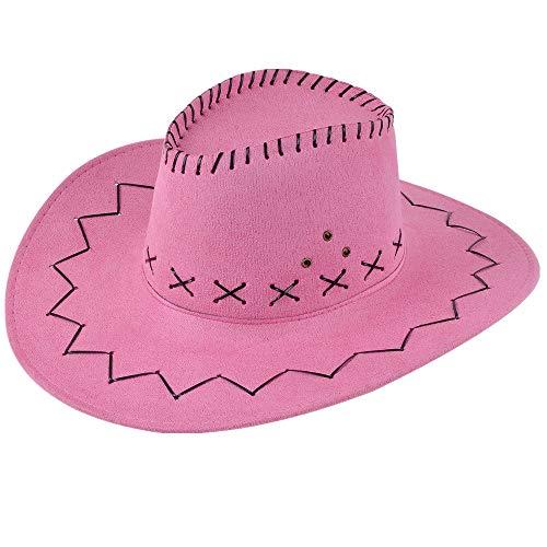 Miobo Cowboyhut - Westernhut für Cowboys & Cowgirls - Karnevals-Kostüm - Hut im Stil Australien/Texas/Western - für Erwachsene - Rosa