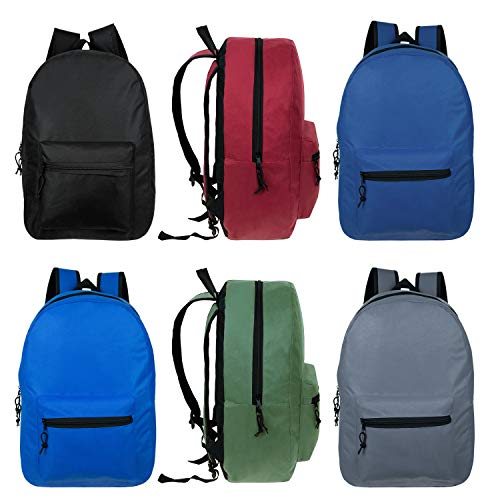 24 Pack - 15 Inch Wholesale Classic Basic Backpack in 6 Assorted Colors - Bulk Case of Bookbags