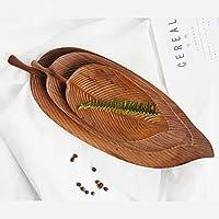 オリーブウッドリーフ型スナックボウル木製手作り食器フルーツトレイリーフ形状収納フルーツトレイ無垢材手作りサービングデザートオーガナイザープレート木製ホーム