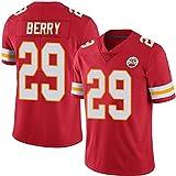 QQA Hommes NFL Kansas Chiefs # 29 Eric Berry Col en V Manche Courte Maillot de Sport Ancien Classique T-Shirts de Fans de Rugby,Rouge,M
