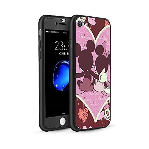 qiaohuan shop Funda para iPhone 6 Plus/6S Plus, diseño de Mickey Minnie 360, funda delgada con protector de pantalla de vidrio templado y soporte para anillo para iPhone 6 Plus/6s Plus #04