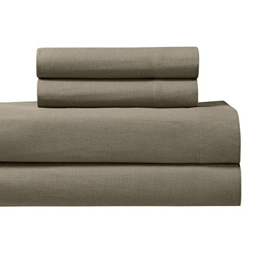 Royal Tradition Heavyweight Flannel, 100 Percent Cotton Queen 4PC Bed Sheets Set, Taupe, 170 GSM