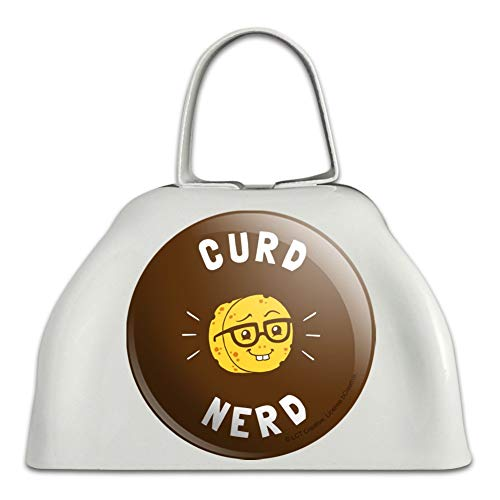 Curd Nerd Cheese Funny Humor White Metal Cowbell Cow Bell Instrument