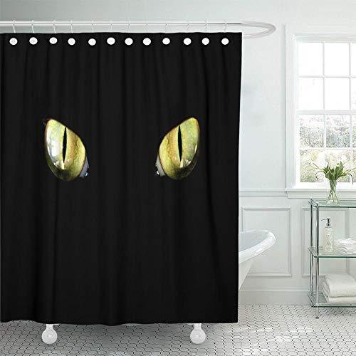 Yellow Panther Feline Eye im Dunkeln Tiger Cat Duschvorhang Wasserdichtes Polyestergewebe 72 x 72 Zoll Set mit Haken