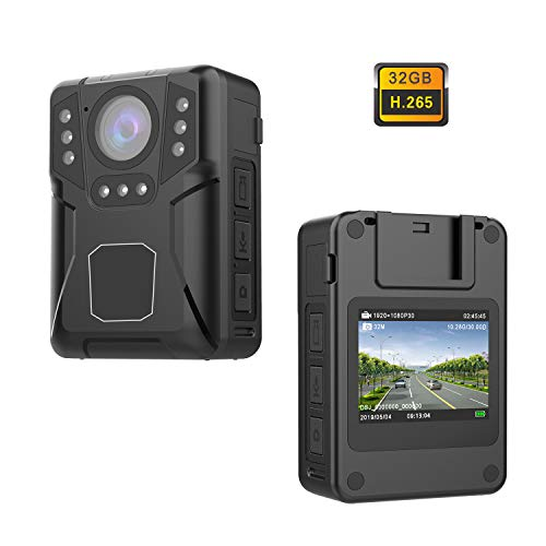 CammPro Mini UHD 1440P Police Body Camera with 32GB Memory, Infrared Night Vision and Waterproof, Premium Surveillance Pocket Body Worn Camera for Law Enforcement,Security Guards,Personal use