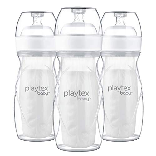 Playtex Baby Nurser Bottle with Pre-Sterilized Disposable Drop-Ins Liners, Closer to Breastfeeding, 8 Ounce Bottles, 3 Count