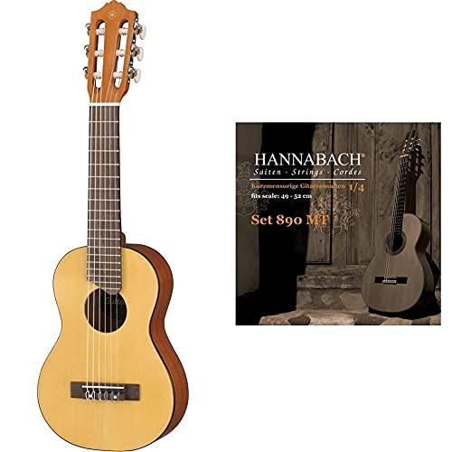 Yamaha GL-1 Guitalele natur – Perfekter Hybrid aus Gitarre und Ukulele – Kleine 1/8 Reisegitarre & Hannabach 653069 Klassikgitarrensaiten Serie 890 1/4 Kindergitarre Mensur: 49-52cm - Satz