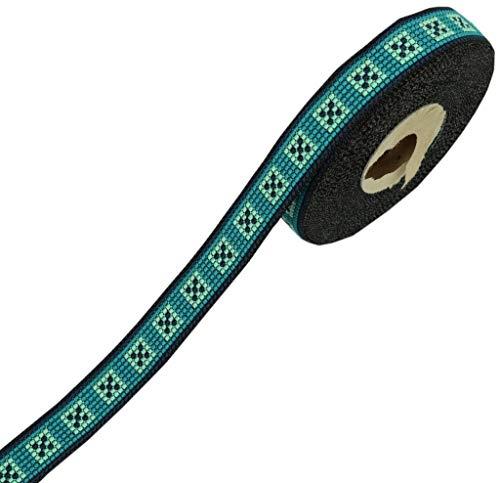 Sari-Bordüre, indisches Handwerksband, zum Nähen, 9 m, Schwarz/Grün