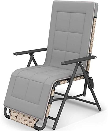 Recliner Rocker Recliner Sun Lounger 10 Positions Adjustable Brown Chair Outdoor Garden Furniture Folding Bed For Beach Pool Patio Camping Feet Steel Round Tube (Size : With cushion)