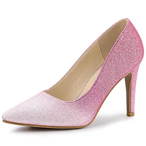 Allegra K Women's Party Glitter Stiletto Pink High Heels Pumps - 9.5 M US