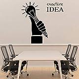 Las calcomanías de oficina creativas inspiran palabras nuevo diseño sosteniendo un bolígrafo bombilla compañía pegatinas de pared calcomanías extraíbles A6 57x57cm