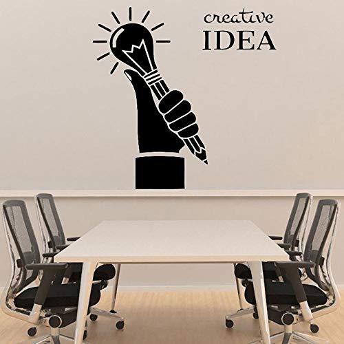 Las calcomanías de oficina creativas inspiran palabras nuevo diseño sosteniendo un bolígrafo bombilla compañía pegatinas de pared calcomanías extraíbles A4 42x42cm