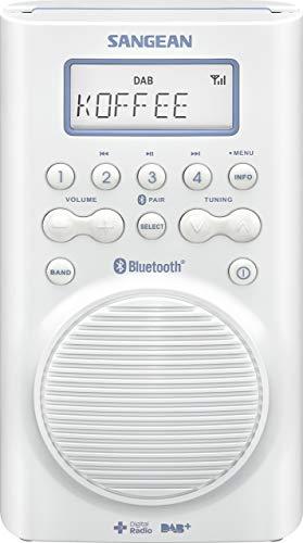 Sangean H-205D BT Wasserdichtes Duschradio (Bluetooth, DAB+, UKW-RDS, wasserdicht nach JIS7) weiß