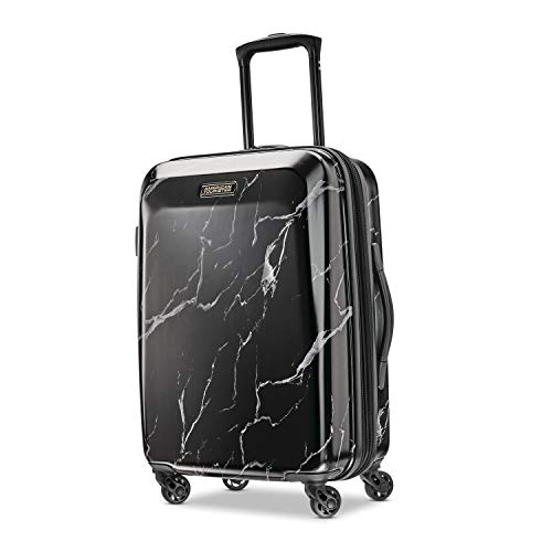 American Tourister Moonlight Hardside Expandable Luggage with Spinner Wheels, Black Marble, Checked-Medium 24-Inch