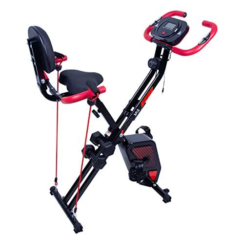Bicicleta estática plegable para interiores con pantalla LCD, soporte para botellas, peso máximo del usuario hasta 120 kg (negro y rojo)
