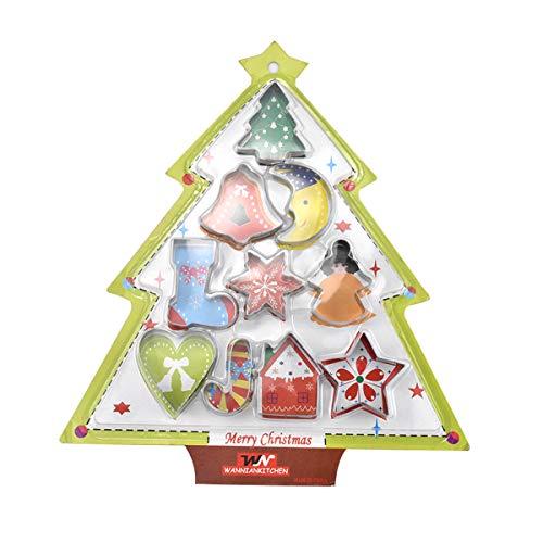 10 Pzs Moldes de Galletas Navideña, Acero Inoxidable Navidad Cortadores Galletas Moldes para Cookie, Fondant, Cortador de Galletas Estrella Árbol de Navidad Campana Luna Calcetín Copo de Nieve Corazón