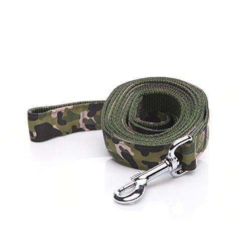 Robuste Hundeleine, 1,8 m lang, 2,5 cm breit, Camouflage-Hundeleine aus Nylon für kleine und mittelgroße Hunde (grün)