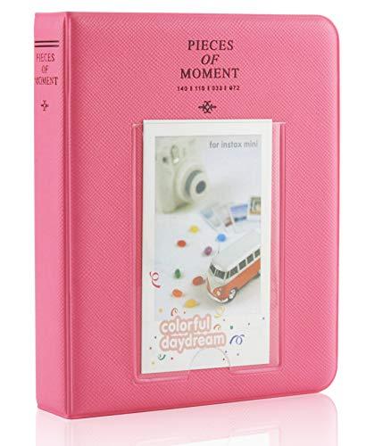Yosuny Mini Album Schutzhülle 64 Taschen für 3 Zoll Fujifilm Instax Mini Filme, für Mini8 8+ Mini9 Mini11 70 90 25 50s 7s Liplay,Kodak/HP Sprocke(Pink)