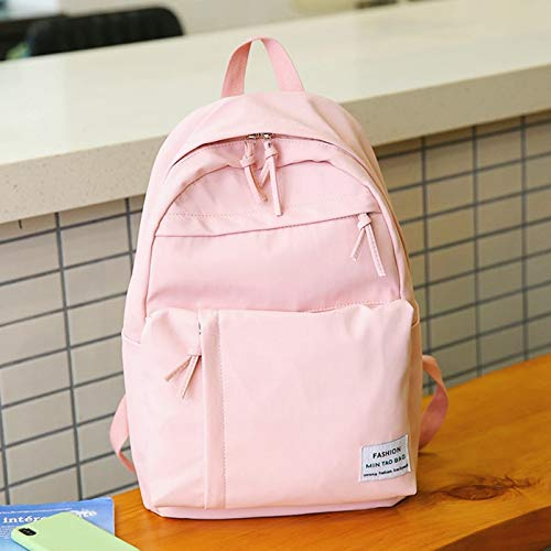 ZZNVS Girls School Backpack Big Capacity Waterproof Nylon Schoolbag Backpack Fashion Girls School Bag for Teenager (Color : Pink)