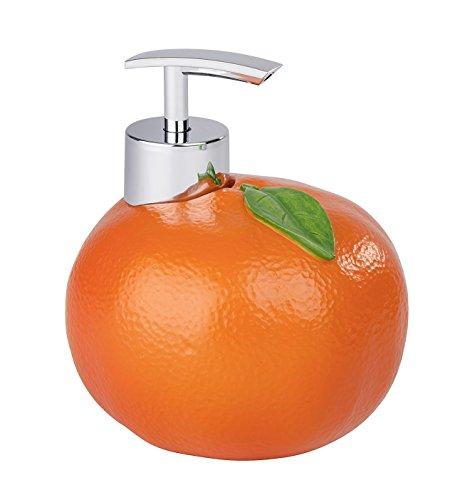 WENKO Seifenspender Orange - Flüssigseifen-Spender, Spülmittel-Spender Fassungsvermögen: 0.3 l, Polyresin, 11 x 12 x 11 cm, Orange