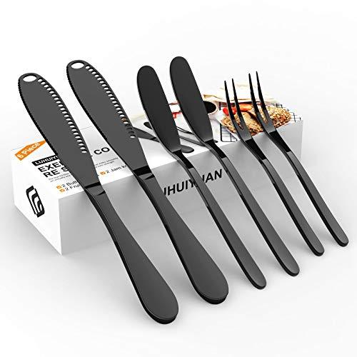 LUHUIYUAN Juego de 6 cubiertos de acero inoxidable, 2 cuchillos mágicos para mantequilla con agujeros, 2 de acero inoxidable, 2 tenedores de cóctel para mantequilla, queso,...
