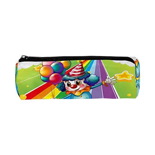 Federmäppchen Funny Clown mit Luftballons in der bunten Regenbogenstraße, Tasche für Schule, Schreibwaren, Stiftebox, Reißverschluss, Kosmetiktasche, Make-up-Tasche