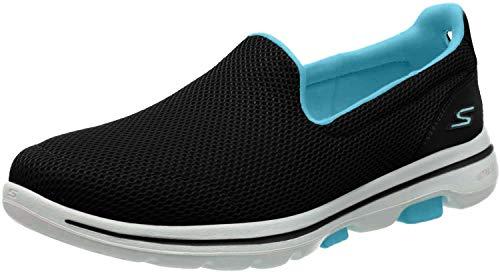 Skechers Go Walk 5 Slip On, Zapatillas Mujer, Negro (Black Textile/Turquoise Trim Bktq), 38 EU