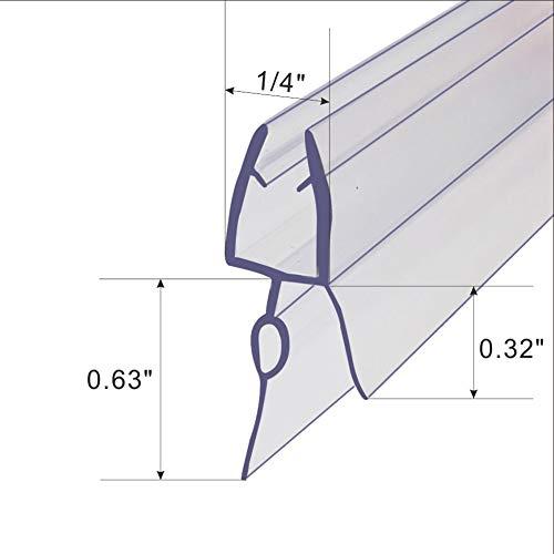 Frameless Shower Door Bottom Seal for 1/4-Inch6mm Glass,36-Inch Long, Vinyl, Clear