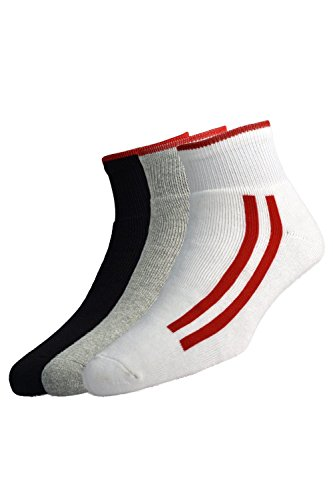 Peter England Men's Stripe Socks (White,Dark Grey,Black) - Pack of 3
