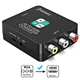 RCA a HDMI Adaptador, PORTHOLIC 1080P AV a HDMI Convertidor de Video con Cable USB, PAL/NTSC para PC Laptop PS3 PS4 Switch Xbox One TV STB VCR BLU-Ray Sky HD VHS DVD HDTV Cámara
