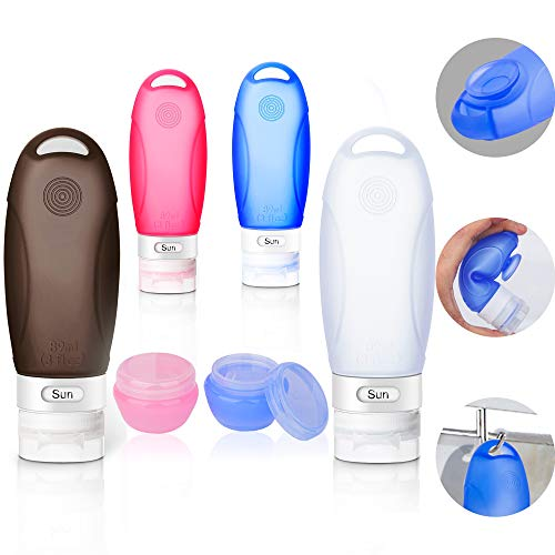 Silikon Reiseflaschen Set, Auslaufsicher Reise Flaschen Behälter mit Saugnapf Flugzeug Transparent kulturbeutel Handgepäck Kosmetiktasche für Duschgel Shampoo Creme Spülung und Andere Flüssige