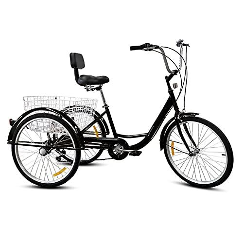 HXSD Erwachsene Dreiräder 7 Geschwindigkeit, Erwachsene Bergtrikes 24 Zoll, 3 Radfahrräder Fahrräder Kreuzfahrt Trike, mit Heckkorble,Schwarz