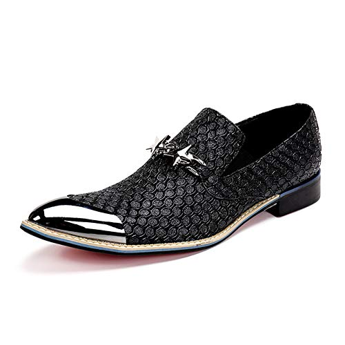 Geschäfts-Kleid Casual Herrenschuhe Schnürschuh Geschnitzte Kuhfell Loafers Spitz Hochzeit Abendkleid Schuhe Non-Slip-Faule Schuhe,Schwarz,40