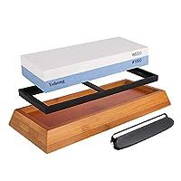 yohong pietra per affilare 1000/6000 professionale 2 in 1 per affilare coltelli da cucina e hotel, con supporto antiscivolo