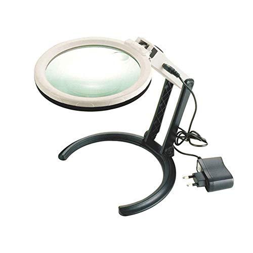 Desktop 1,8 X vergrootglas 5-voudig ondersteunde spiegel met LED-licht HD-lens voor het lezen van boeken, identificatie van sieraden, klok, doe-het-zelf knutselen, graveren en repareren, 300 x 190 x 270 mm vergrootglas