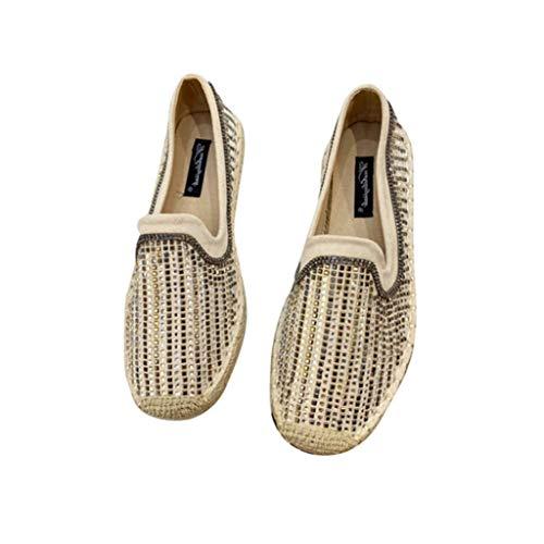 Mujeres Alpargatas Moda Ray Raystone decoración Costura Ante de sueldo en bajo Top Lino Inferior Zapatos Individuales Planos señoras Zapatos Casuales