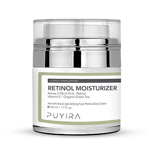 PUYIRA Retinol Facial Day and Night Cream Moisturizer, 1.7 fl oz, With Hyaluronic Acid, Vitamin E, Green Tea and Jojoba Oil For Puffiness, Wrinkles, Crows Feet & Fine Lines