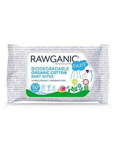 RAWGANIC Gentle Biodegradable Organic Cotton Baby Wipes, with Aloe Vera, Hypoallergenic Fragrance-Free Moist Wipes for Nappy Change, Face and Body Cleansing (Pack of 50 wipes)